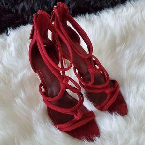 Zara Burgundy Strappy Heels